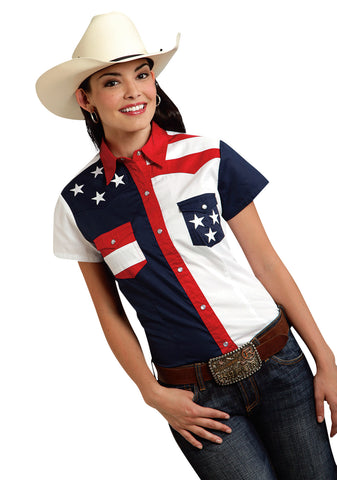 Roper Americana Ladies Blue 100% Cotton Colorblock S/S Flag Western Shirt