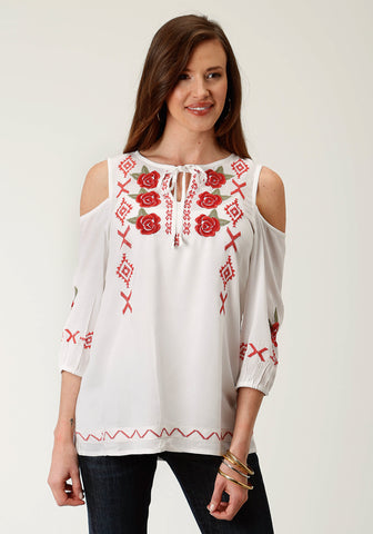 Roper Womens White Rayon/Nylon Red Floral S/S Blouse