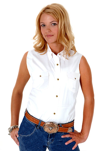 Roper Womens White 100% Cotton Sleeveless Solid Poplin Snap Western Shirt