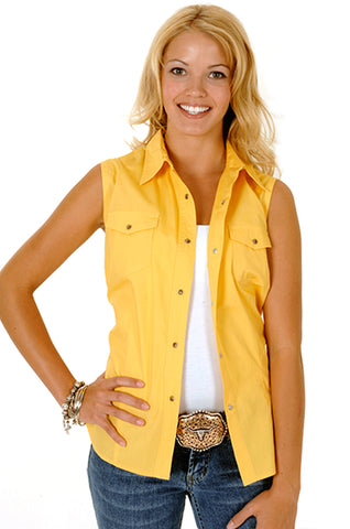 Roper Womens Yellow 100% Cotton Sleeveless Solid Poplin Snap Western Shirt