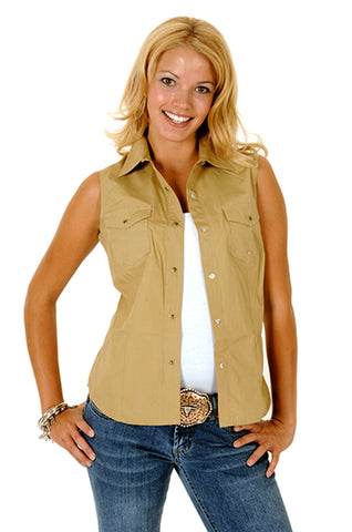 Roper Womens Brown 100% Cotton Sleeveless Solid Poplin Snap Western Shirt
