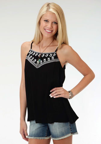 Roper Five Star Womens Black Rayon/Nylon Embroidered Cami S/L Tank Top