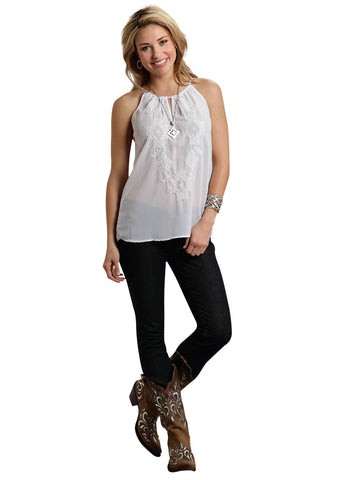 Roper Studio West Ladies White Polyester Tribe Georgette Halter Tank