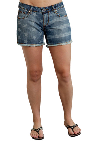 Roper Americana Ladies Blue 100% Cotton Stars Stripes Boyfriend Shorts