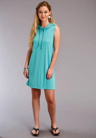 Roper Womens Turquoise Poly/Rayon Hooded Tee S/L Dress