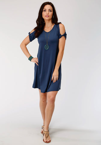 Roper Womens Navy Poly/Spandex Cold Shoulder S/S Dress