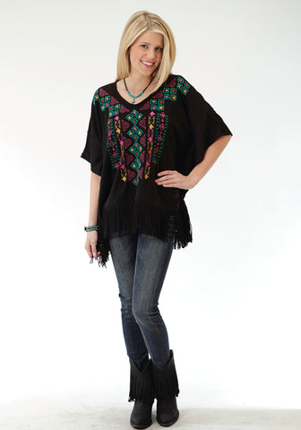 Roper Colorful Aztec Ladies Black Polyester Poncho Sweater