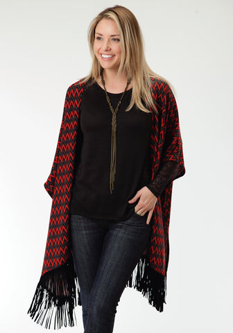 Roper Black Chevron Ladies Red Polyester Poncho Sweater