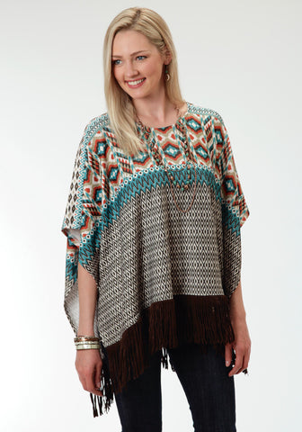 Roper Aztec Print Ladies Brown Polyester Poncho Sweater