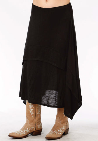 Roper Studio West Womens Black Poly/Rayon Slub A-Line Skirt