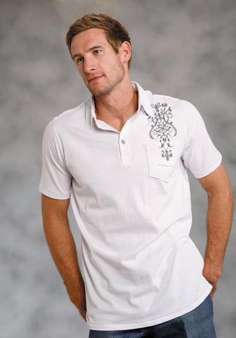 Roper Performance Mens White 100% Cotton S/S Screen Print Jersey Polo Shirt