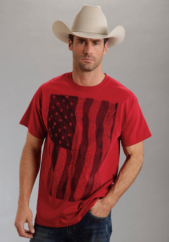 Roper Mens Graphic Tee T-Shirt Red 100% Cotton S/S Distressed Flag Print