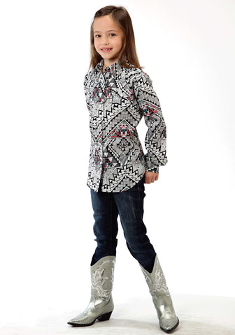 Roper Aztec Print Girls Black 100% Cotton L/S Shirt