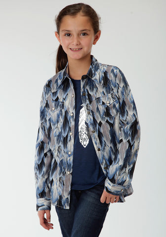 Roper Feather Print Girls Blue 100% Cotton L/S Shirt