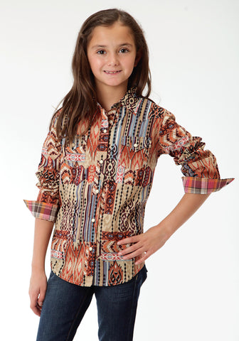 Roper Aztec Patch Print Girls Brown 100% Cotton L/S Shirt