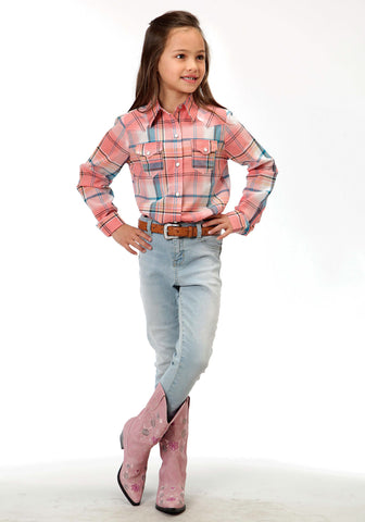 Roper Plaid Girls Coral 100% Cotton Western L/S Shirt