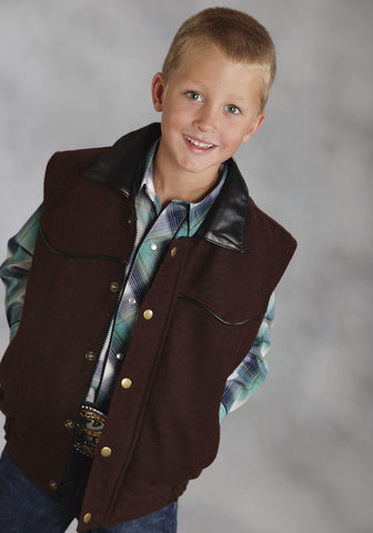 Roper Boys Brown Wool Blend Fleece Vest Western Snap Outerwear