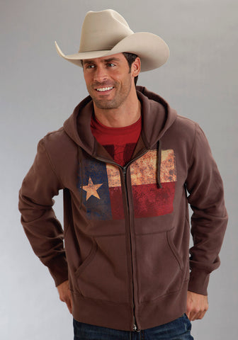 Roper Americana Mens Brown L/S Cotton Blend Texas Flag Hoodie Sweatshirt
