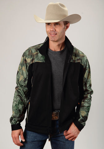 Roper Camo Mens Black Fleece Zip Up Jacket