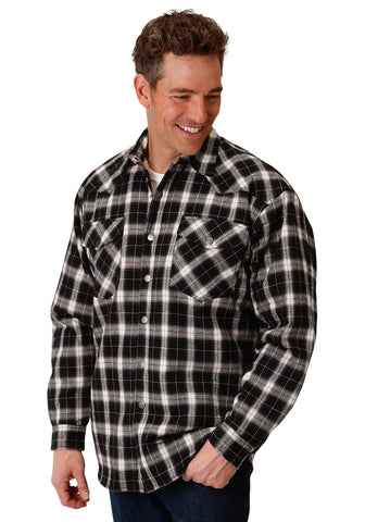 Roper Tall Mens Black/White 100% Cotton Plaid Jacket