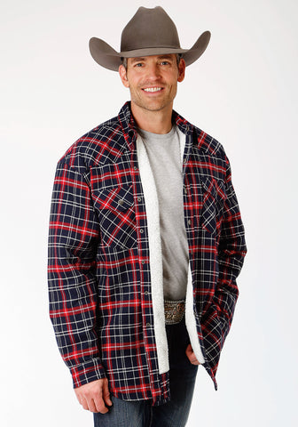 Roper Mens Navy/Red 100% Cotton Sherpa Lined Tall Jacket