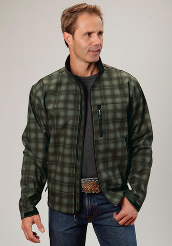 Roper Technical Softshell Mens Brown Polyester Plaid Jacket