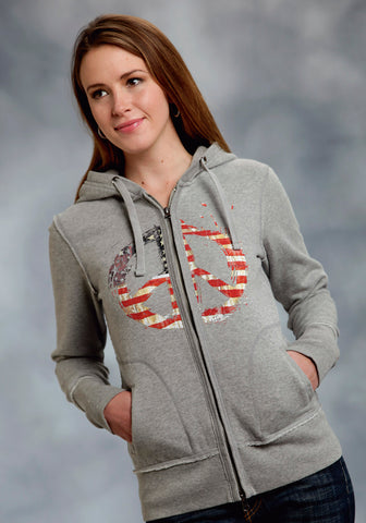 Roper Womens Gray Cotton Blend L/S American Design Front Zip Hoodie Sweater