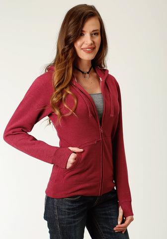 Ouray Womens Wine 100% Cotton USA Zip Hoodie