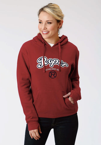 Roper Womens Red 100% Cotton White Logo L/S Hoodie