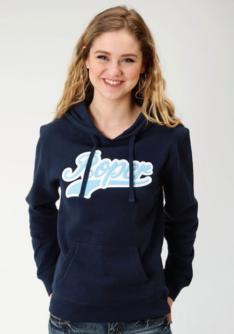 Roper Womens Navy Cotton Blend Athletic Script Hoodie