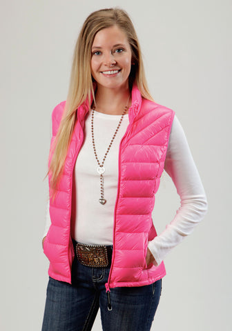 Roper Down Ladies Pink 100% Nylon Quilted Vest
