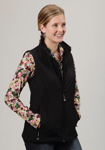 Roper Softshell Ladies Black Polyester Zip Front Vest