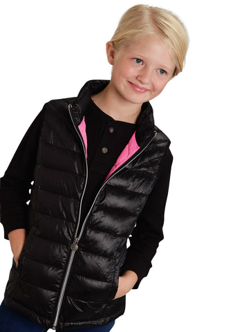 Roper Outerwear Girls Black Nylon Parachute Vest