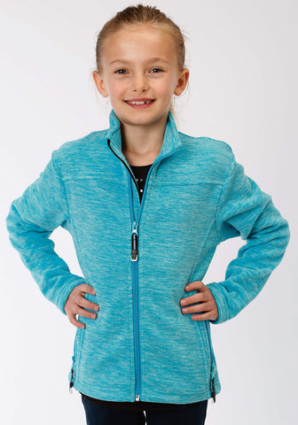 Roper Girls Kids Turquoise Polyester Cationic Fleece Jacket