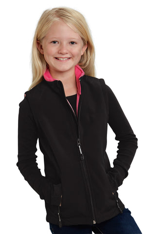 Roper Outerwear Girls Black Polyester Softshell Pink Vest