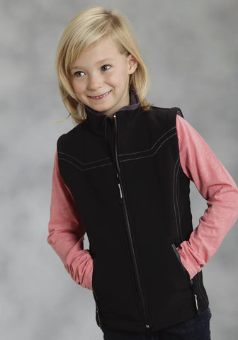 Roper Girls Outerwear Black Polyester HiTech Fleece Reflective Zip Up Vest