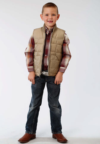 Roper Rangegear Boys Kids Brown Polyester Insulated Vest