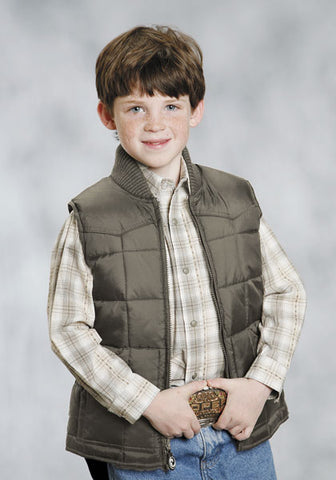 Roper Boys Outerwear Brown Nylon Down Poly Insulated Western Vest