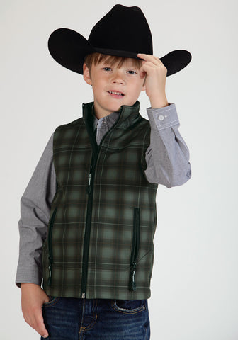 Roper Fleece Boys Brown Polyester Plaid Softshell Vest