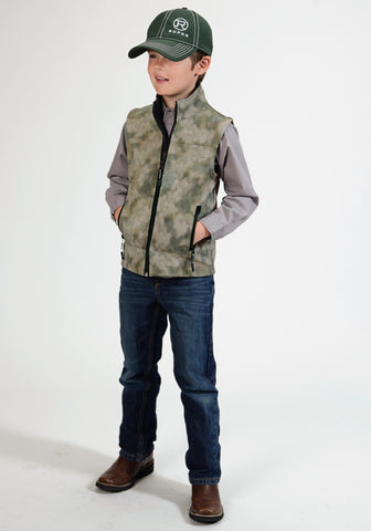 Roper Fleece Boys Brown Polyester Blurry Camo Softshell Vest