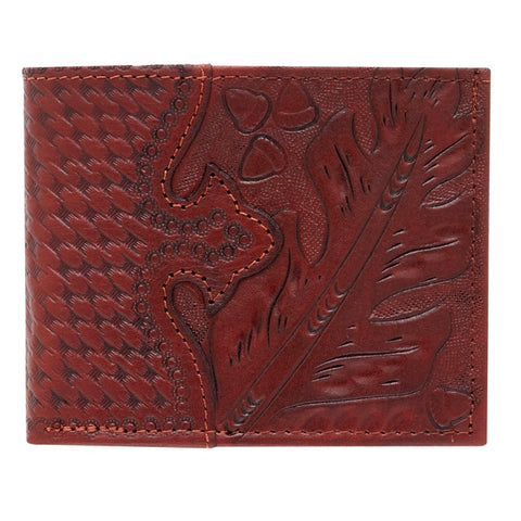 American West Men's Wallets Bi-Fold Mahogany Leather Oakleaf Tooled Overlay