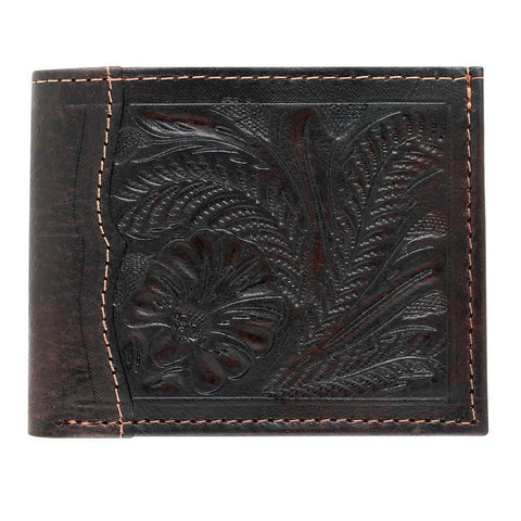 American West Men's Wallets Bi-Fold Chocolate Leather Distressed Tooled