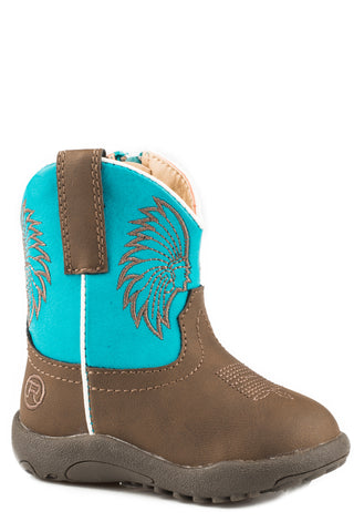 Roper Boys Infants Turquoise/Brown Faux Leather Headdress Cowboy Boots