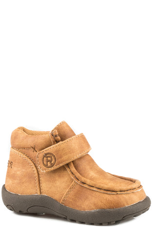 Roper Boys Infants Tan Faux Leather Cowbabies Moc Ankle Boots