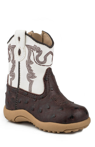 Roper Newborn Boys Boots Brown Faux Leather Ostrich Zip Cowbabies