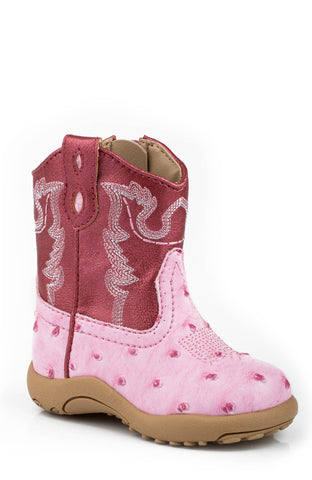 Roper Newborn Girls Boots Pink Faux Leather Ostrich Zip Cowbabies