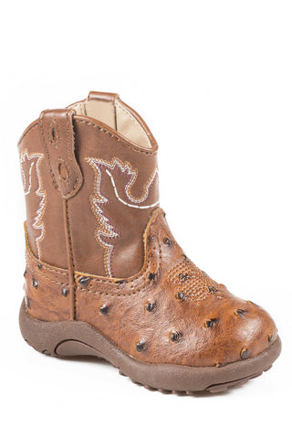 Roper Bumps Newborn Tan Faux Leather Unisex Ostrich Cowboy Boots