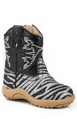 Roper Newborn Boys Boots Black Silver Glitter Faux Leather Zebra