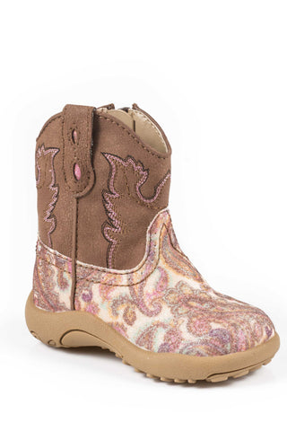 Roper Glitter Paisley Newborn Brown Faux Leather Unisex Stitch Cowboy Boots