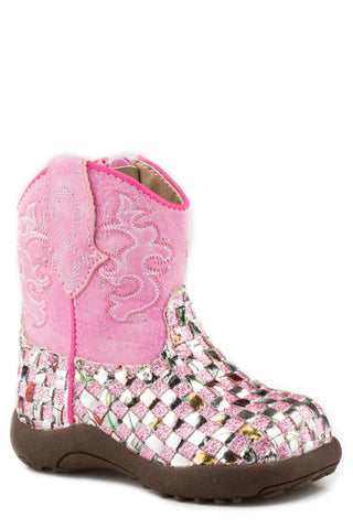 Roper Infants Girls Pink Faux Leather Western Braid Cowboy Boots